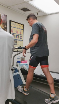 You are then placed on a treadmill (or stationary bicycle) and your pace/pitch of the treadmill is slowly increased over about 12 minutes. During the last minute or so of the test you'll recieve another injection of radioactive material.